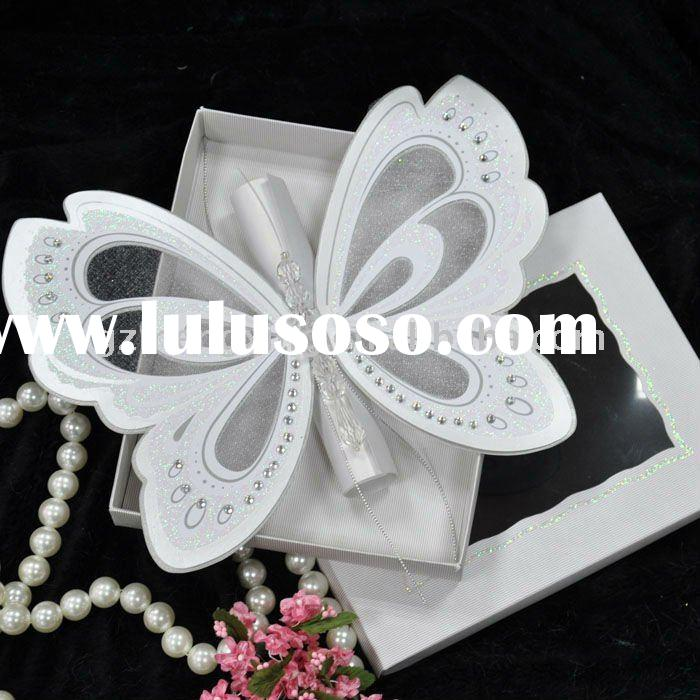 Unique butterfly shape wedding invitation card with scroll card in invitation box-T192