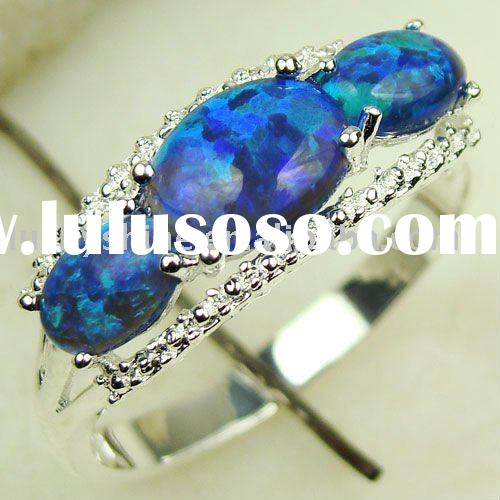 Unique fashion ring blue fire opal gemstone jewelry