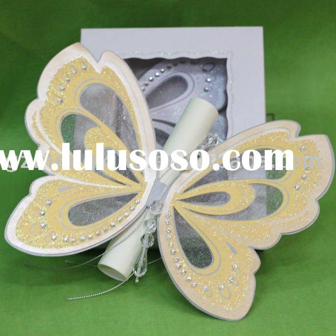 Unique yellow butterfly shape wedding decoration with scroll card in invitation box-T192