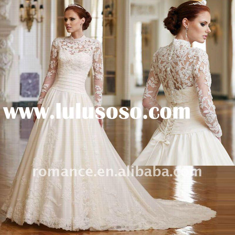 VD715 Custom Made Princess Lace Long Sleeve Wedding Gowns
