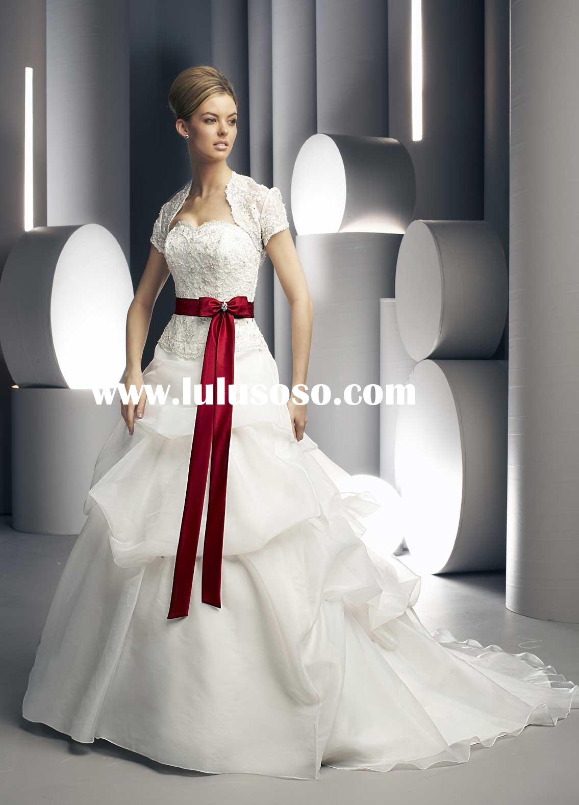 W163 High quality beautifulshort sleeve with lace jacket wedding gown