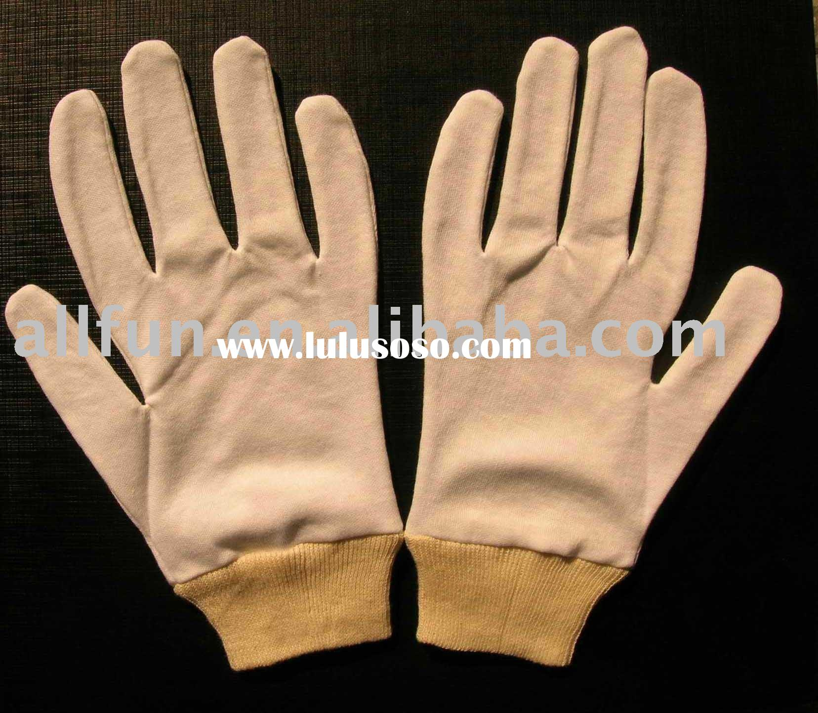 White Cotton Gloves With Knit Wrist / Cotton Gloves Liner