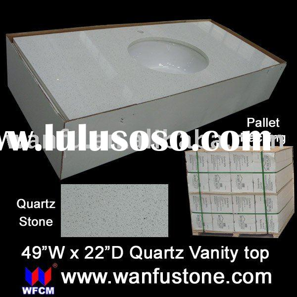 White Quartz Granite Vanity top with UPC Ceramic Sink