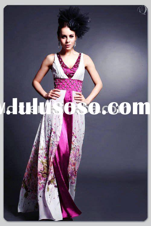 Wholesale price D30140 multi-colored wedding dress flower printing A-line beading sequins Sash court
