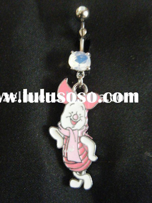 Winnie the Pooh Resting Piglet Dangle Navel Belly Ring,body jewelry,navel belly ring