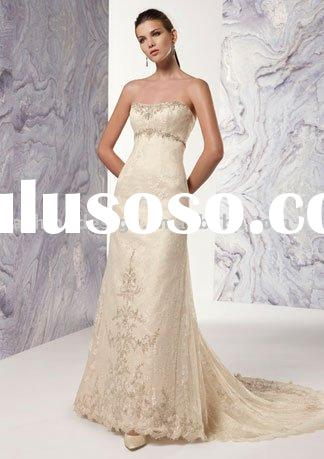 YS2395 2011 high quality champagne lace wedding dress