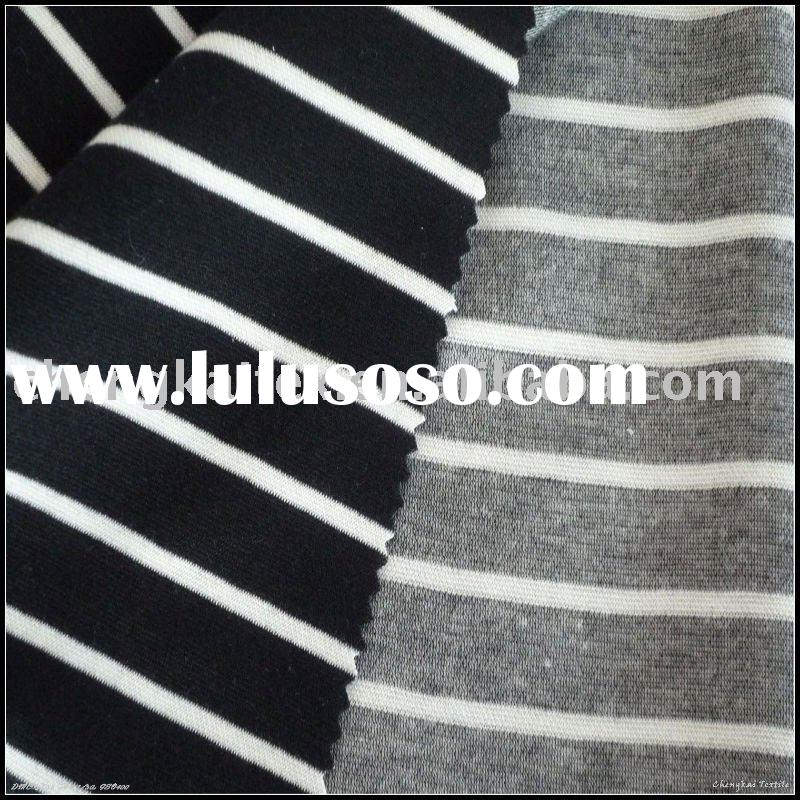 Yarn dyed striped double knitting polyester fabric