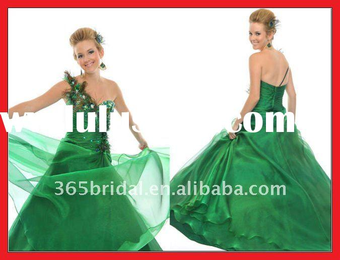 ZHX0868 Pretty Long Feather Green One Shoulder Satin Prom Dress 2012