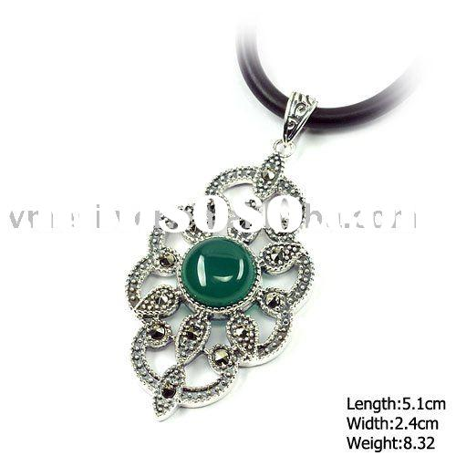 [PKP-1153] 925 Silver Jewelry, Sterling Silver Pendant with Agate & Marcasite
