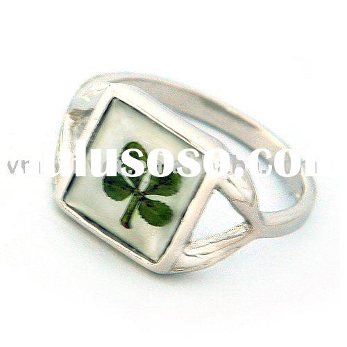 [RFC-0932] 925 SILVER RING, SILVER RING WITH NATURAL FOUR-LEAF CLOVER