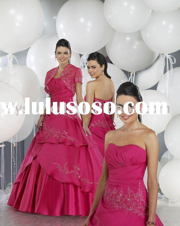 ball gown red short sleeves with jacket bridesmaid dresses evening dress