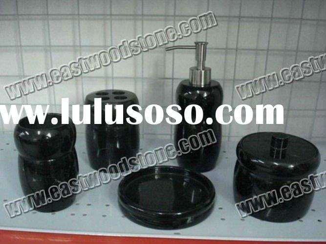 black marble bathroom accessories-five sets