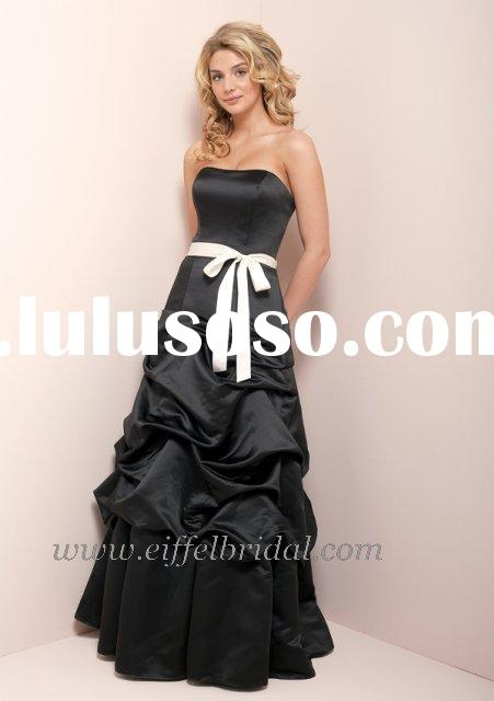 black with white bow bow-tie prom evening gown dress
