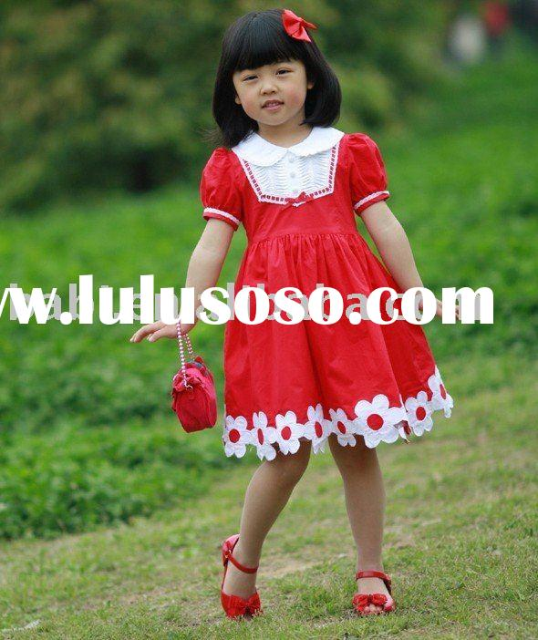 children Dress with short sleeves in ren color for 2010 summer