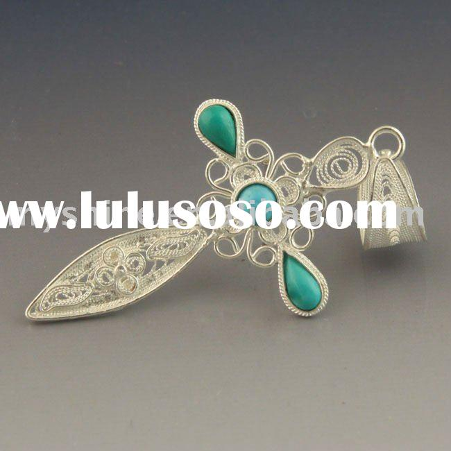 classical cross gemstone pendant sterling silver charm jewelry