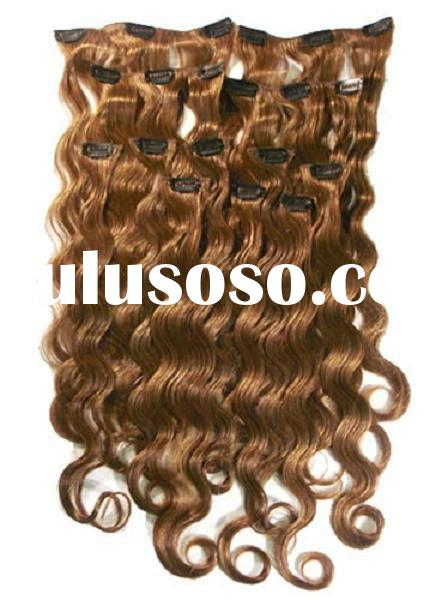 clip in hair extension 8 light brown sets,remy chinese human hair clip in hair extension,good price