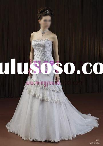 colored taffeta organza appliqued lace wedding dress 2010 w3266