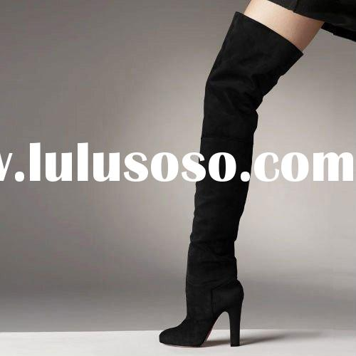 dropship fashion black suede thigh high boots+paypal
