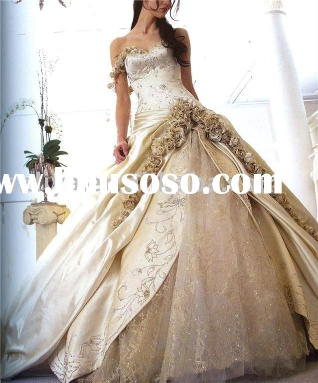 elegant one shoulder champagne wedding dresses with beautiful flowers SHS131