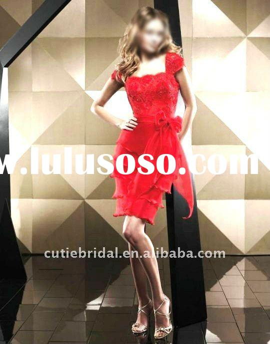 elegant red chiffon lace cap sleeve prom dress evening dresses 50241