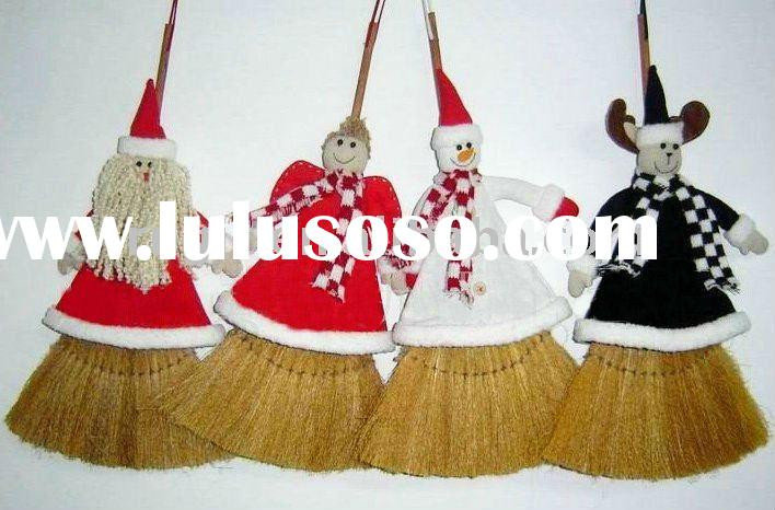 fabrics christmas drum snowman broom, santa claus whisk, christmas decoration reindeer broomstick be
