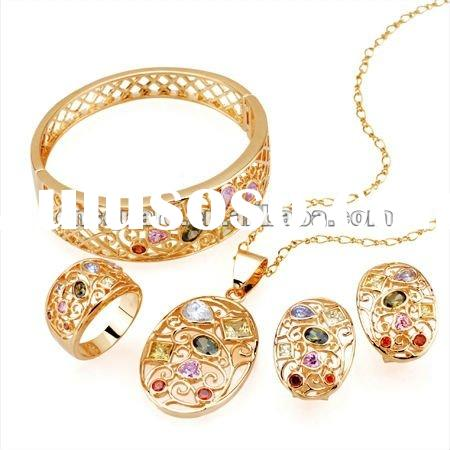 fashion 18k gold plated jewelry set