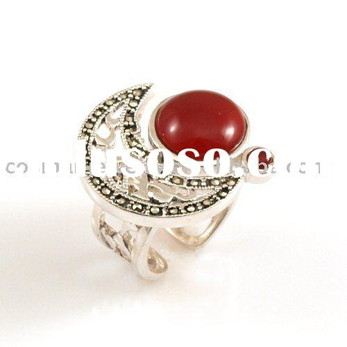 fashion 925 sterling silver ring with agate and Marcasite