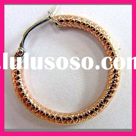 fashion girls antique rose gold plated round shape hoop earrings