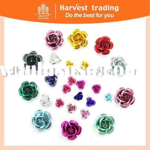 fashion metal rose flower sequins trimming copper clothing accessories