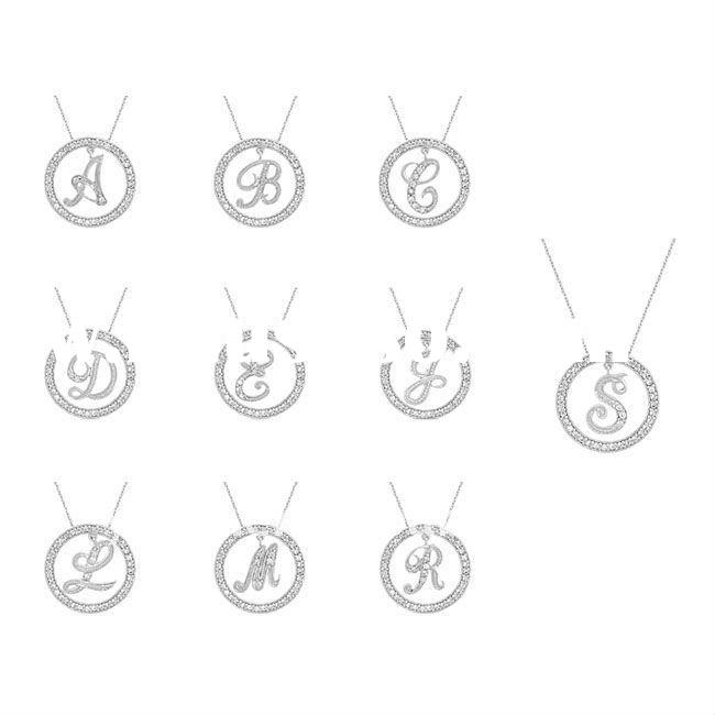 fashion silver plated an initial dangling inside a circle pendant necklace jewelry
