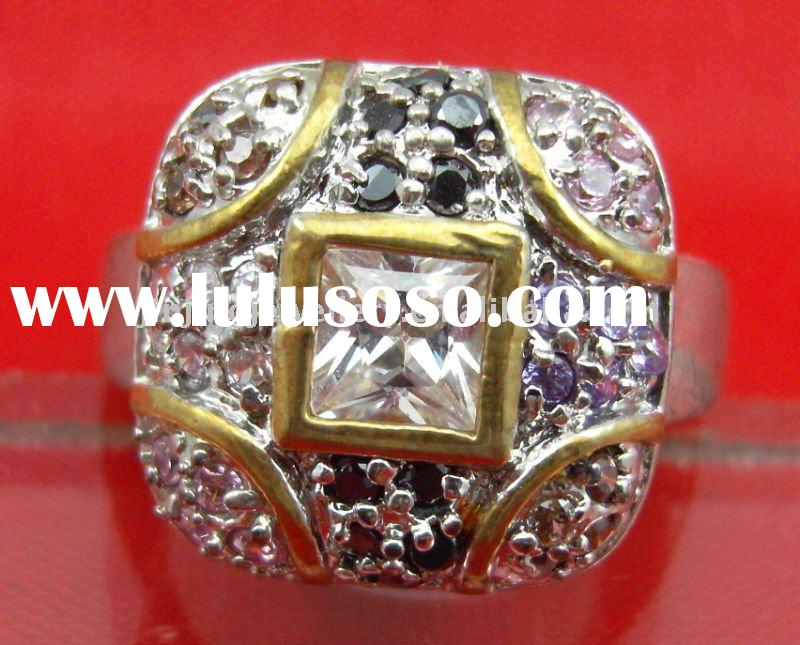 fashion stainless steel ring with cz stones,cz rings