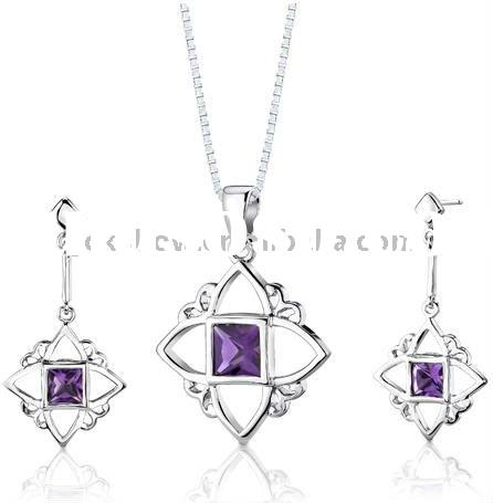 fashion star shaped pendant with purple stone necklace and earring set