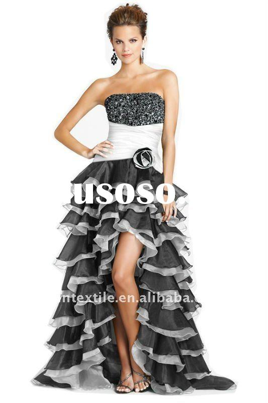 fashion strapless black and white short front long back dress evening 2012 new style