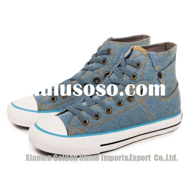 fashion style good looking men double canvas high cut shoes