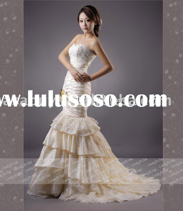 fishtail wedding dresses Landybridal Own Model Taffeta Trumpet/Mermaid wedding dresses--LD0338(Best