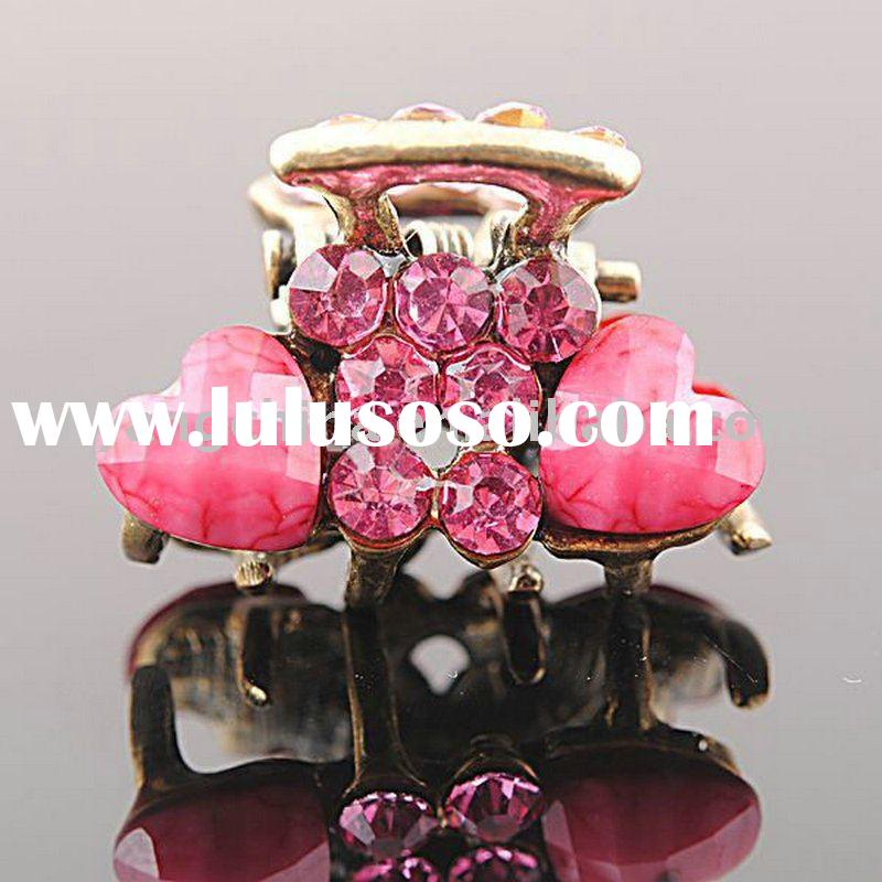 free shipping MIX style wholesale mini fashion rhinestone crystal clips hair claw clip