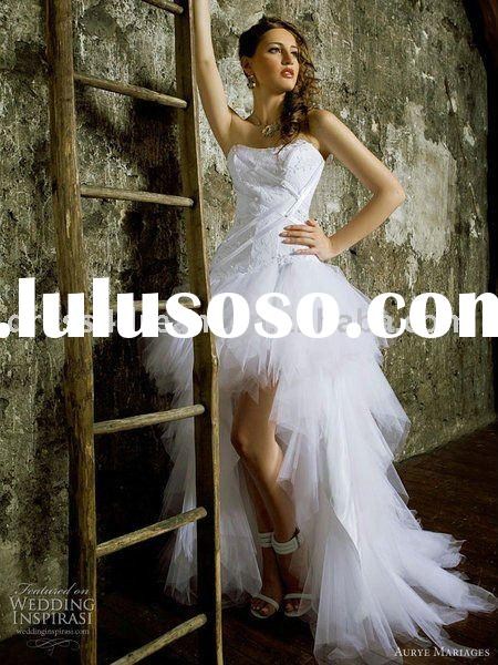 front short and long back wedding dress with tulle and taffeta