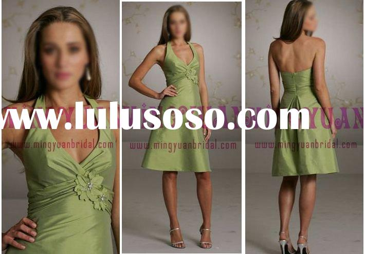 halter taffeta bridesmaid dresses green bd14