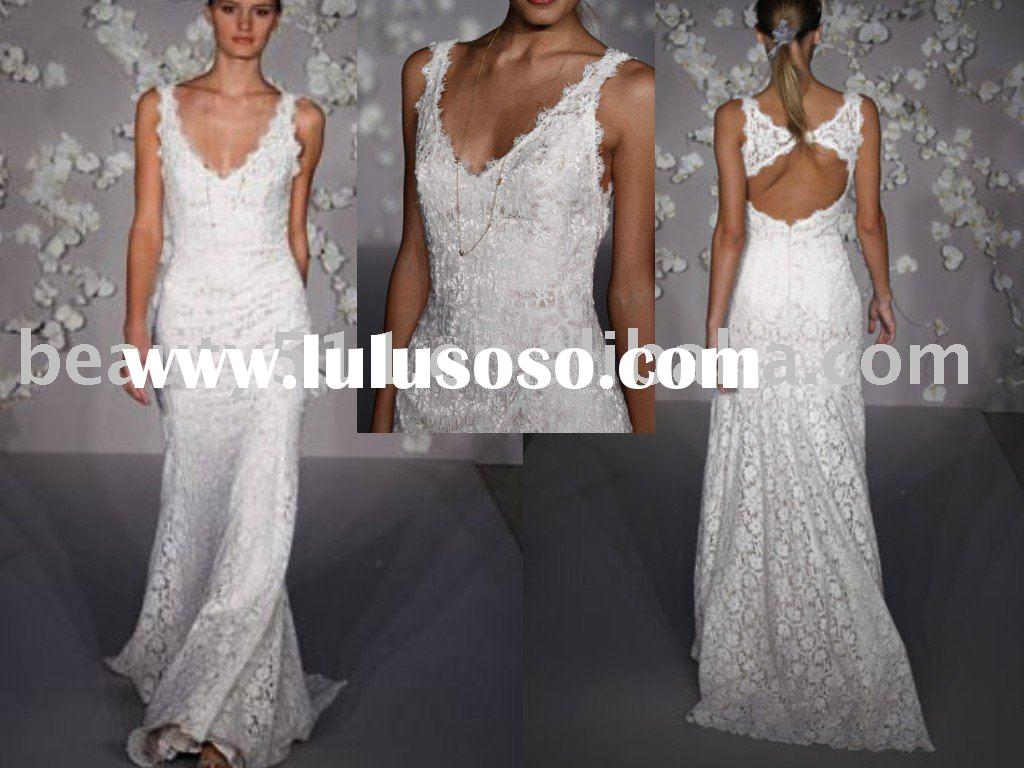 high quality lace appliqued backless wedding dress ql4108