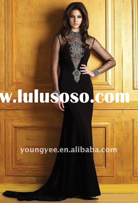 high quality long sleeve black gown, formal evening dress, women's evening dress designer