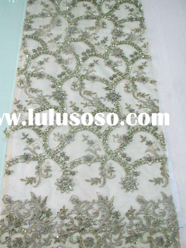 high quality polyester embroidery fabric with heavy handwork for dresses