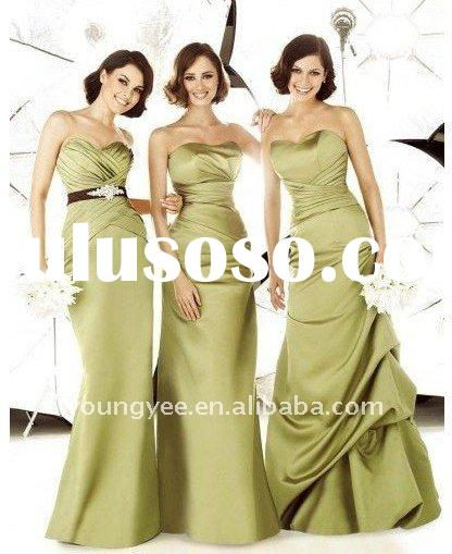 hot sales elegant strapless satin latest bridesmaid dresses, patterns for bridesmaids dresses