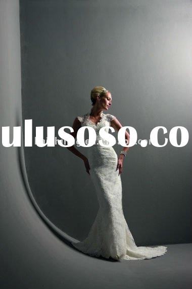 lace high neck cap sleeves mermaid open back 2011 new models bride wedding dress