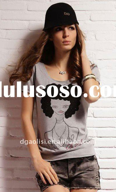 lady printed fashion 100% cotton t-shirt