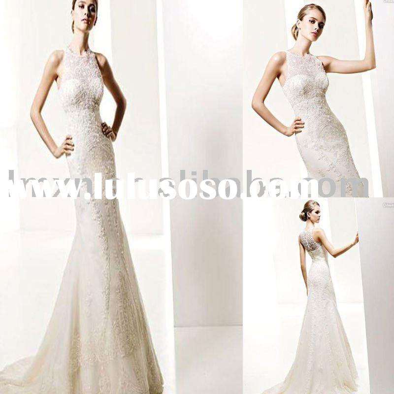 mermaid high-neck lace white wedding dress