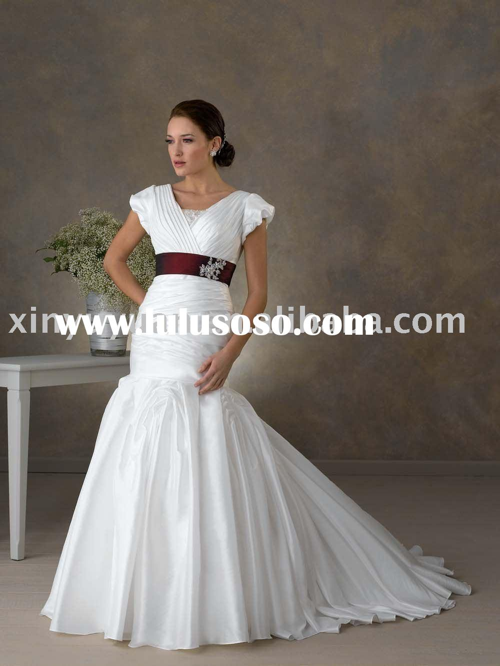 mermaid style modest short sleeves wedding dresses BOW-099