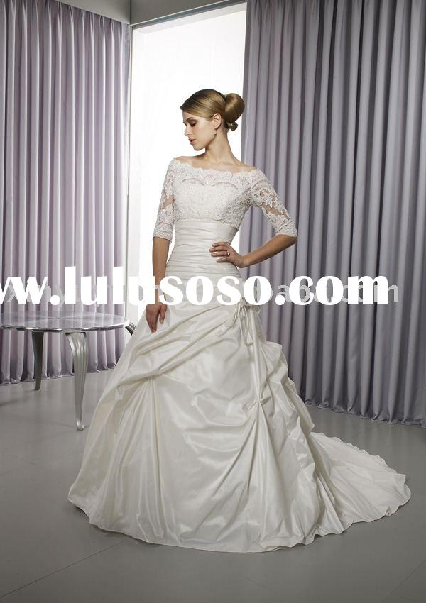 modest and vintage Taffeta wedding dresses with long sleeves