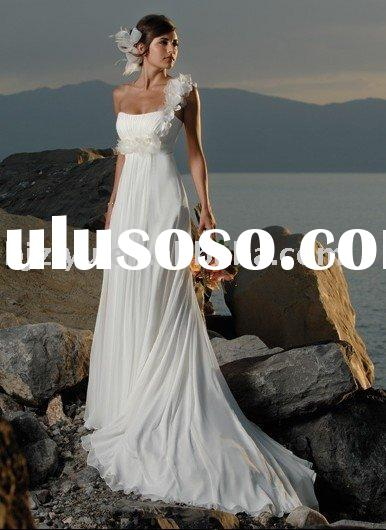 one-shoulder lace white taffeta wedding dress
