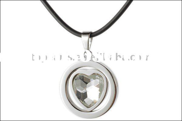 pendants, necklaces pendants,304 stainless steel with heart clear acrylic round pendant MEP507