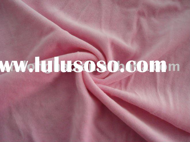 pink cotton/poly velour fabric combed yarn double dyed